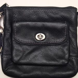 COACH black leather turnlock crossbody duffle bag